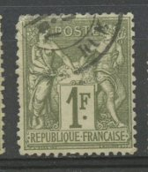 France 1876 1f Peace And Commerce Issue #76 - 1876-1878 Sage (Type I)