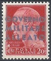 Emissione Di Napoli, 1943 Cesare 20c Con S/s Azzurro Ch. I Tiratura # Michel 1 - Scott 1N10 - Sassone10a - NUOVO ** NH - Occup. Anglo-americana: Napoli