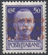 Emissione Di Napoli, 1943 V.E. III 50c S/s Vermiglio Aran I Tiratura # Michel 3 - Scott 1N12 - Sassone 12a - NUOVO ** NH - Occup. Anglo-americana: Napoli