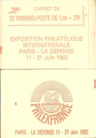 """CARNET 2102-C 8 Sabine De Gandon """"PHILEXFRANCE 82"""" Daté 3/12/80 Fermé Parfait état Bas Prix, à Saisir. - Carnets"""