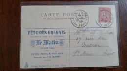 PERFORE PERFIN JOURNAL M LE MATIN SUR SEMEUSE FETE DES ENFANTS 19/06/1904 TUCK CACHET VELODROME D´HIVER PARIS + CP ANGES - Perforés