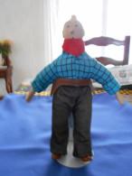 Statuette TINTIN, Cow-boy, Corps Souple, Tête, Pieds Et Mains Porcelaine - Tintin