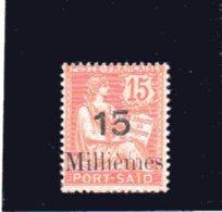 Port- Saïd -  Mouchon 15m/15c. Vermillon Surchargé (1925 ) Une Signature