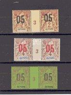 Guyane - Française _ 3 Millésimes  - Surcharge   (1893 )