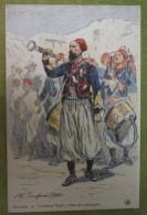 ZOUAVES - Tambour-Major - Tenue De Campagne - Belle Carte Aux Coloris Illustrée Par Maurice TOUSSAINT - Comme Neuve - Uniformes