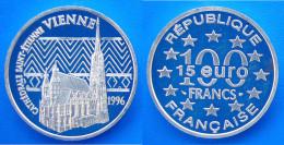 FRANCIA 100 F 1996 ARGENTO PROOF VIENNA CATTEDRALE S.STEFANO. PESO 22,2. TITOLO 0,900. CONSERVAZIONE FDC. - K. 10 Franchi