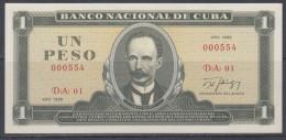 1986-BK-7 CUBA. BANCO NACIONAL. 1$. JOSE MARTI. 1986. UNC. NUMERO: 000554. - Cuba