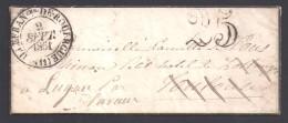 Aveyron - Cachet Type 13 VILLEFRANche DE ROUERGUE  + Taxe 25 - Marcophilie (Lettres)