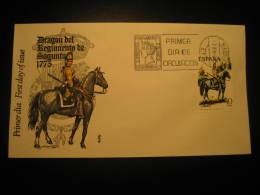 Madrid 1975 Dragon Del Regimiento Sagunto 1775 Cavalry Uniformes Militares Military Uniforms Fdc Cancel Cover Spain - Militares