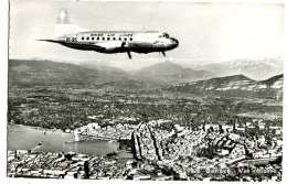 SWISS AIR LINES OVER GENEVA Phot 1961 - GE Genf