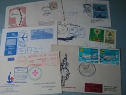 ==  6 Lufhansa Cv. Flights  Aprx. 1963  By Sieger - Briefmarken