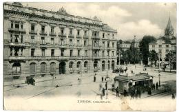 Zürich Paradeplatz Mit Leben RETOUR Vignette Abgereist / Parti 1907 - ZH Zürich