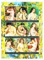 Chad MNH Sheet Of 9 Nudes By Pierre-Auguste Renoir - Vignettes De Fantaisie