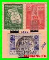 URUGUAY ( AMERICA ) 3 SELLOS AÑO 1944-48 - Uruguay