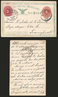 G)1892 MEXICO, EMBOSSED NUMERAL 3 CTS.POSTAL STATIONARY, DOUBLE RATED, CIRC. IRAPUATO,GTO CANC., CIRCULATED TO GUANAJUAT - Mexico