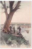 Kyoto Japan, Arashiyawa Men On Riverbank, Fishing(?) Man With Net, C1900s Vintage Postcard - Kyoto