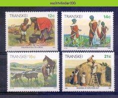 Ndc048 DAGELIJKS LEVEN PAARD SCHAPEN VOEDSEL ETEN DAILY LIFE SHEEP HORSE CROP FOOD BUILDING HOUSES TRANSKEI 1985+ PF/MNH - Transkei