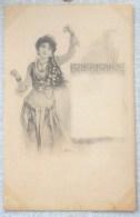 Litho ART NOUVEAU PRECURSEUR Illustrateur BOTTARO STOEFER Fille Femme GITANE DANSE CASTAGNETTES MEDAILLE Bijoux Cou - Bottaro