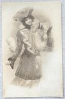 Litho RELIEF Illustrateur MSIB BOTTARO ? Clapsaddle ? Femme FILLE MANTEAU CHAPEAU FOURRURE BOULE DE NEIGE FLOCONS - Bottaro