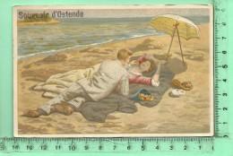 JOLI CHROMO: Souvenir D' Ostende, érotisme, Couple Lascif Sur Une Plage - Illustrateurs & Photographes