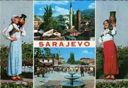 Yugoslavia.Bosnia And Herzegovina.Sarajevo Mosque .Islam.Folklore Costumes.Girls Folklore.UNUSED POSTCARD - Islam