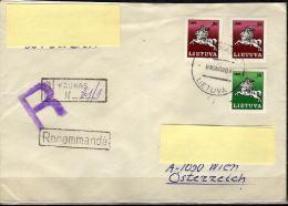 LITAUEN 1991 - Rekobrief Kaunas - Wien - Litauen