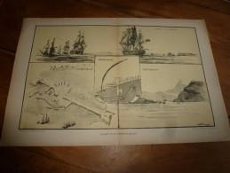 Guerre Navale Grav. Albert Sébille LE BLOCUS ET L'EMBOUTEILLAGE à Zeebruge,La Rochelle,etc (dim. Document = 50cm X 33cm - Bateaux