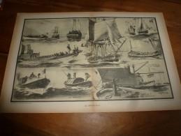Guerre Navale Grav. Albert Sébille : LES EMBARCATIONS, Mise à La Mer De La Chaloupe, Etc (dim. Document = 50cm X 33cm - Barche