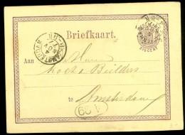 HANDGESCHREVEN BRIEFKAART Uit 1877 GELOPEN Van KLEINRONDSTEMPEL ´s-GRAVENHAGE Naar AMSTERDAM NVPH 18 VOORDRUK  (10.460z) - Postal Stationery