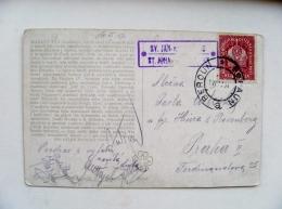 2 Scans Old Post Card Sent From Beroun On 1917 Beraun Karluv Tyn Karlstejn Castle Osterreische Post Crown Austria - Böhmen Und Mähren
