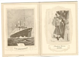 "Swedish America Line 1927 Second Class Luncheon Menu SS Drottningholm Carl Larsson Artist Drawing ""Night Effect"" WOMAN - Menükarten"