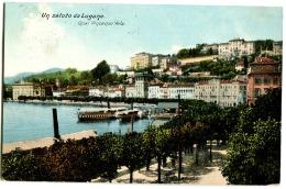 Un Saluto Da LUGANO Quai Vincenzo Vela Farblitho 1906 - TI Tessin