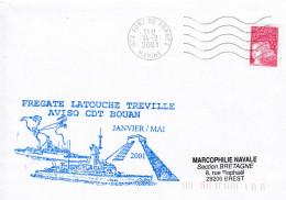 FREGATE LATOUCHE TREVILLE AVISO CDT BOUAN FORT DE FRANCE MARINE 14/2/2001 - Marcophilie (Lettres)