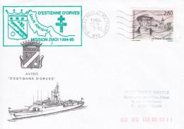 AVISO D'ESTIENNE D'ORVES MISSION ZMOI 1994/95 GOLFE PERSIQUE BPM 610 TIMBRE GEORGES SIMENON - Poststempel (Briefe)