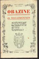 Plaquette OBAZINE (corrèze) 1953 (F.0677) - Dépliants Touristiques