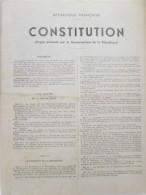 Republique Francaise LA CONSTITUTION Projet Presenté Par Le Gouvernement Discours General De Gaulle   4 Septembre 1958 - Programma's