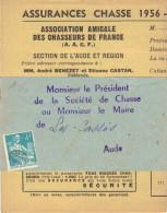 """Préo YT N°109 : Moissoneuse 4 F. Bleu, """"Association Des Chasseurs De France, Section De L´Aude"""" - Préoblitérés"""