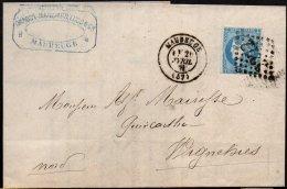 FRANCE - 20 C. Type III Report 2 Sur Lettre De Maubeuge Pour Wignehies Du 20 Avril 1871 - 1870 Bordeaux Printing