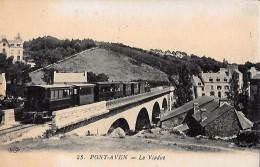 CARTE POSTALE ORIGINALE ANCIENNE : PONT AVEN ; TRAIN LOCOMOTIVE A  VAPEUR SUR LE VIADUC ; ANIMEE ; FINISTERE (29) - Pont Aven