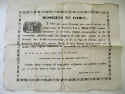 ORLEANS, Loiret - Affiche Mortuaire, Faire Part De Décès 1842 - Format 50 X 64 Cm - Affiches