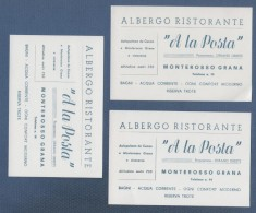3 CARTONCINI DA VISITA ALBERGO RISTORANTE A LA POSTA MONTEROSSO GRANA - AUTOPULMAN DA CUNEO - PROPRIETARIO URBANO ORESTE - Visiting Cards