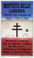 Fac Similé De L'affiche De 1944 : Montreuil-Bellay Libérée. 41,8 X 24,5 Cm. Libération, Croix De Lorraine - Affiches