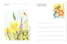 FLORA-L195 - LIECHTENSTEIN Entier Postal Carte Illustrée Abeille Et Jonquille - Autres