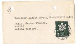 FLORA-L199 - SUISSE Env. Carte De Visite FLUMS Pour La France Affr. Pro Juventute 1946 Narcisse - Autres