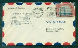 1er Vol Détroit/ Toronto 1929, Verso Arrivée London (Canada) - 1c. 1918-1940 Cartas
