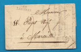 Haute Marne - Langres Pour Marseille. 1814 - Marcophilie (Lettres)