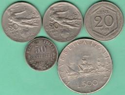 Italie - 20 - 50 Centesimi - 500 Lire 1863 à 1960 Avec Argent Lot 5 Pièces Monnaies - Italia
