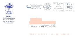 EMA ML 100171 + Flamme Sur Enveloppe Illustrée Mairie De Sallèles D'Aude Vin Joutes Languedociennes - Vinos Y Alcoholes