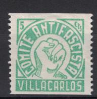 VILLACARLOS COMITE ANTIFASCISTA ASSISTENCIA SOCIAL 5 Cts Centims Guerra Civil ESPAGNE / SPAIN ASISTENCIA - Vignettes De La Guerre Civile