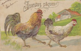JOYEUSES PÂQUES---coq + Poule --(gaufrée + Dorures )--voir 2 Scans - Easter